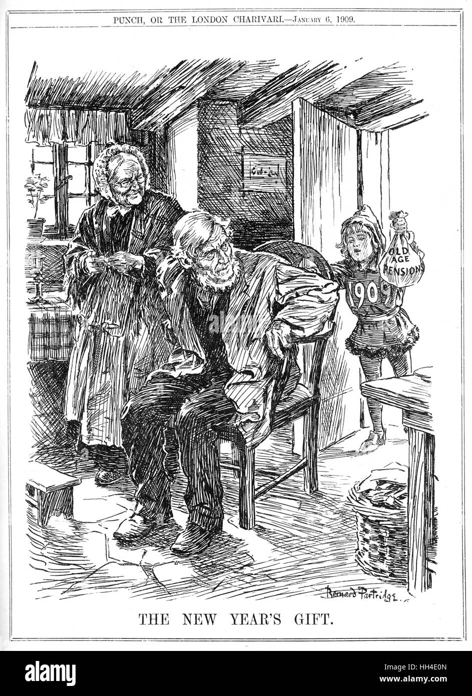 'THE NEW YEAR'S GIFT' -  1909 brings in the Old  Age Pension - Stock Image