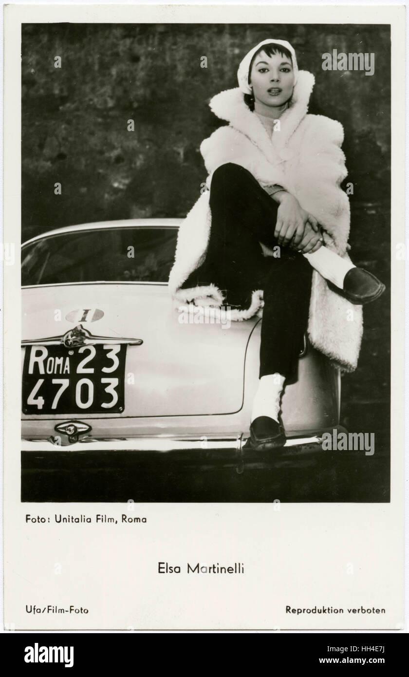 Elsa Martinelli  Italian film actress sitting on a car - Stock Image
