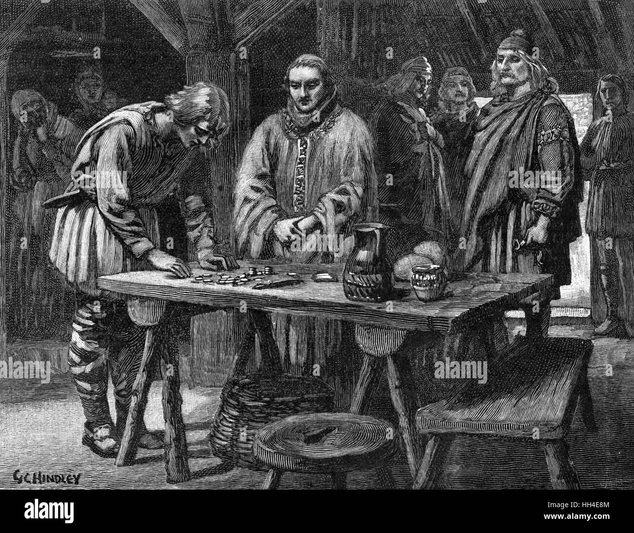 An Anglo-Saxon murderer is  made to pay WER-GILD (= man  money) to the relatives of his  victim - Stock Image