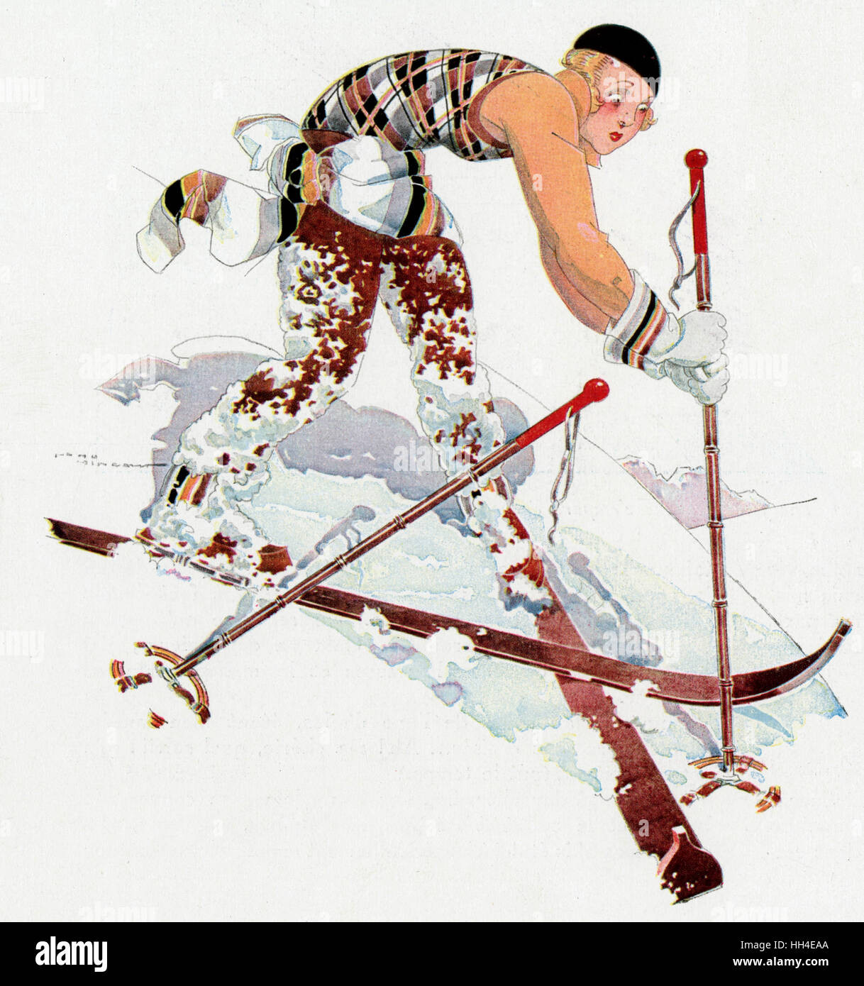 This skier is heading for a  fall - she's got her skis  crossed (and that ain't good). - Stock Image