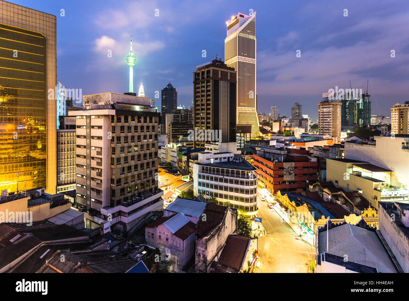 An aerial view of the business district of Kuala Lumpur, Malaysia capital city, at night. The city is an important - Stock Image