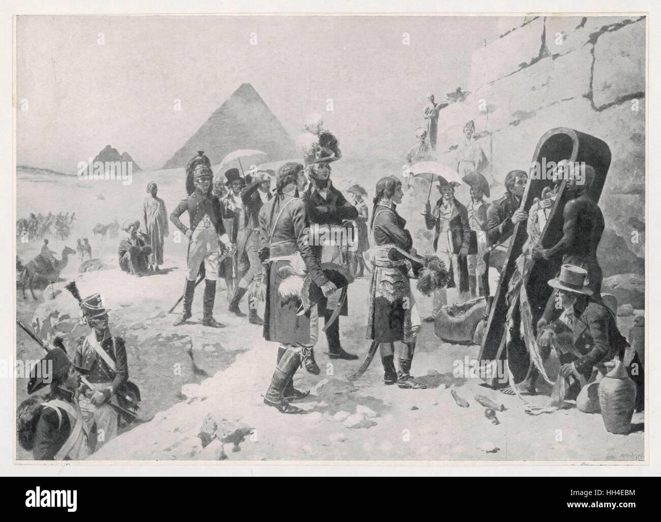 Napoleon contemplates  an Egyptian mummy. - Stock Image