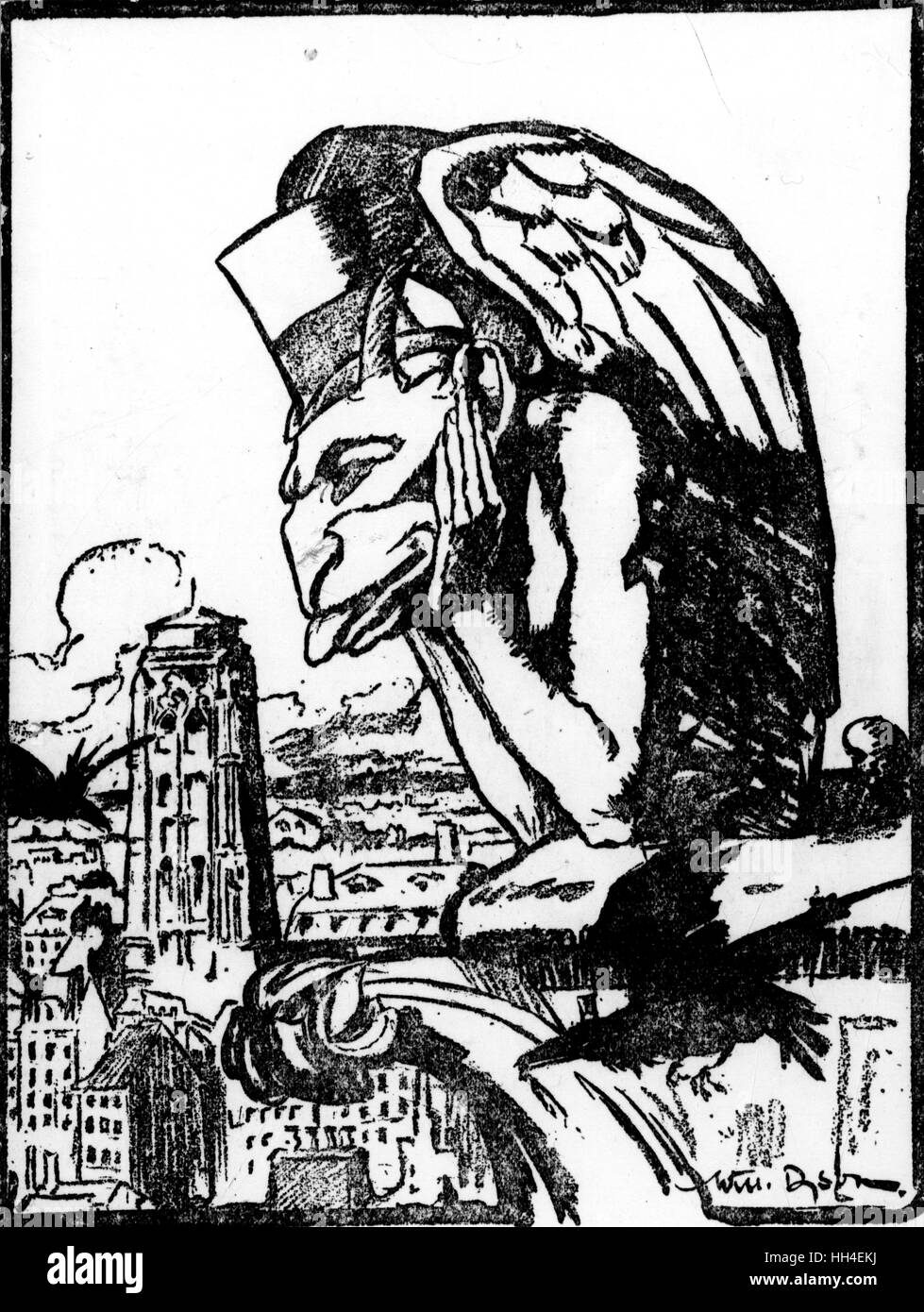 WW1 - A illustration of a giant gargoyle sitting of the city of Paris, as if waiting on the news from the peace - Stock Image
