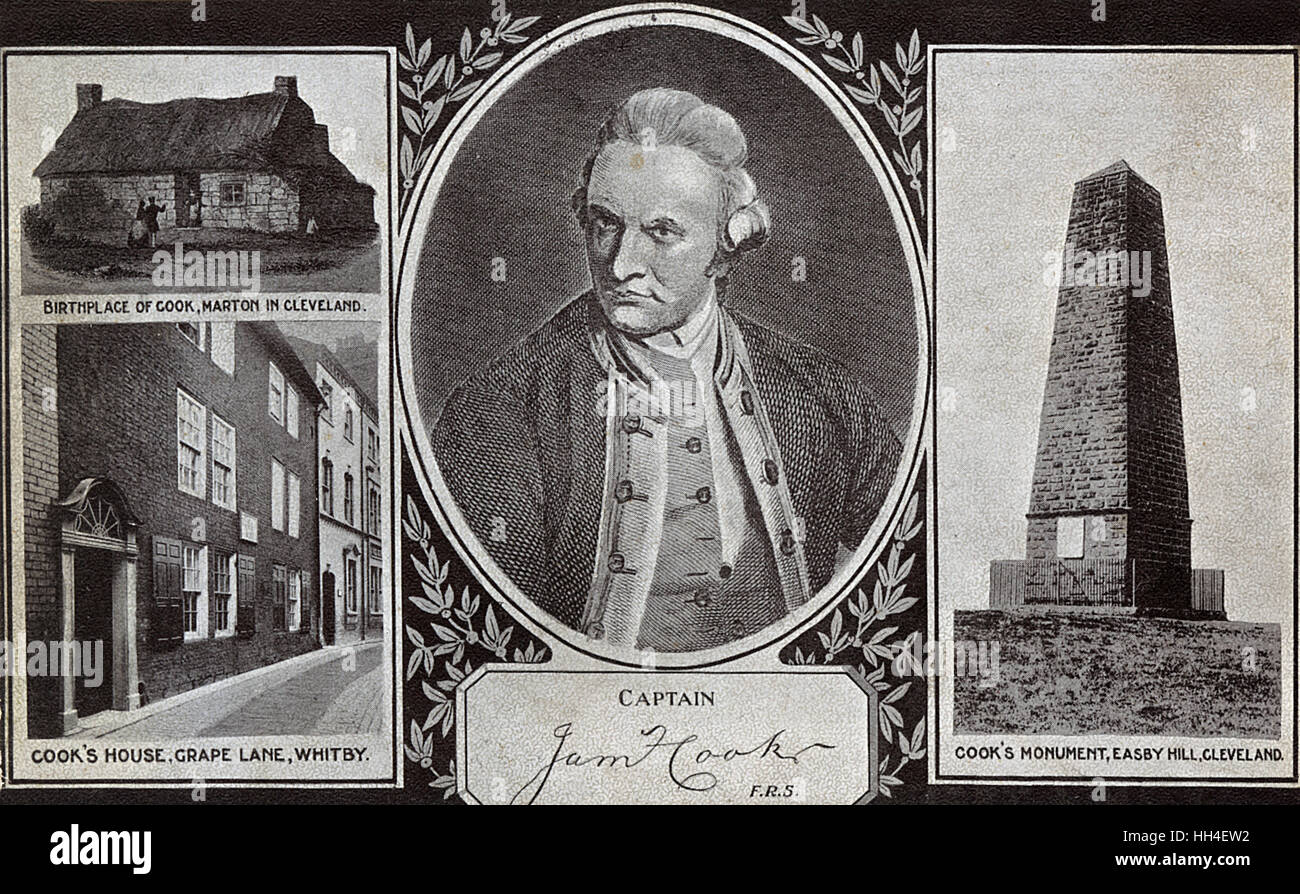 Captain James Cook (1728-1779) - British explorer, navigator, cartographer, and captain in the Royal Navy - portrait - Stock Image