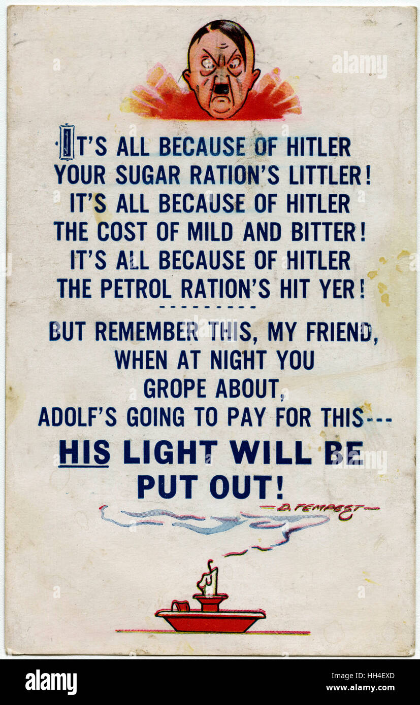 Propaganda Postcard - WW2 - Hitler causing shortages on all fronts. - Stock Image
