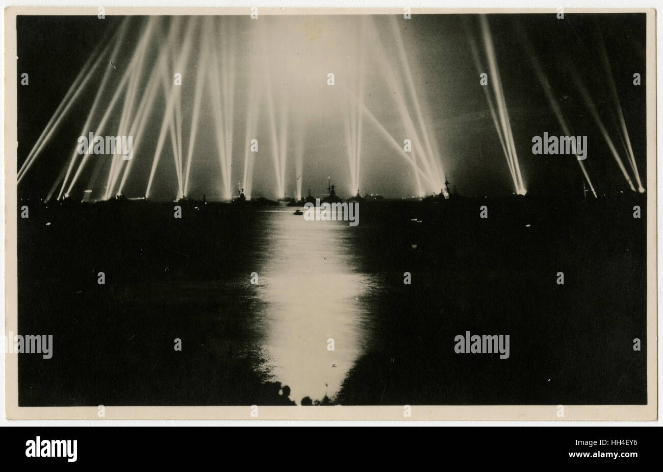 Jubilee Naval Review - Spithead - battery of searchlights of the fleet - Silver Jubilee of King George V in 1935. - Stock Image
