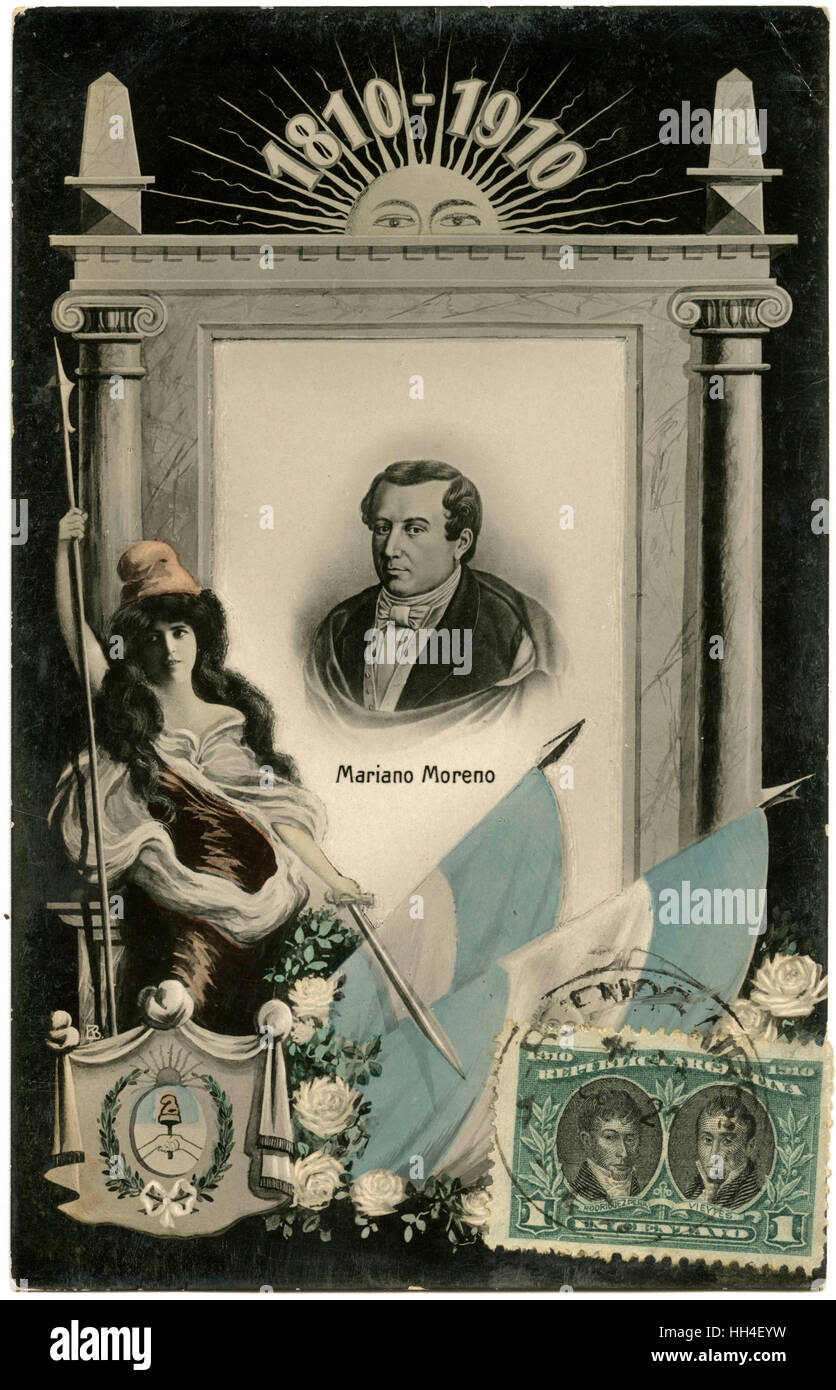 Postcard celebrating the 100-year anniversary of the May Revolution in Argentina, featuring an inset portrait of - Stock Image
