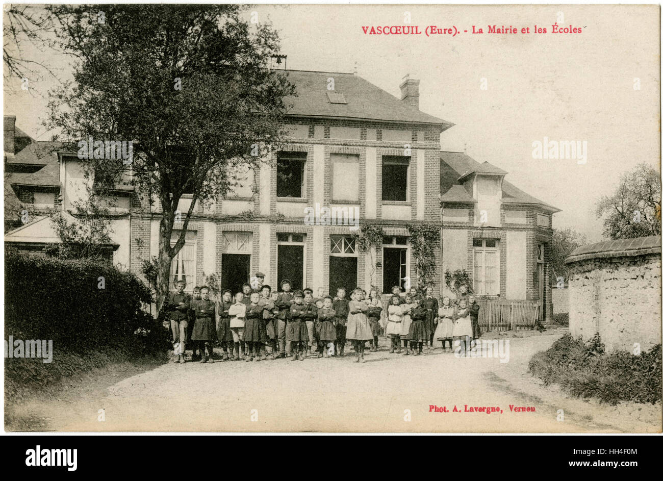 Vascoeuil, a commune in the Eure department in Haute-Normandie in northern France - the Town Hall and the schools - Stock Image
