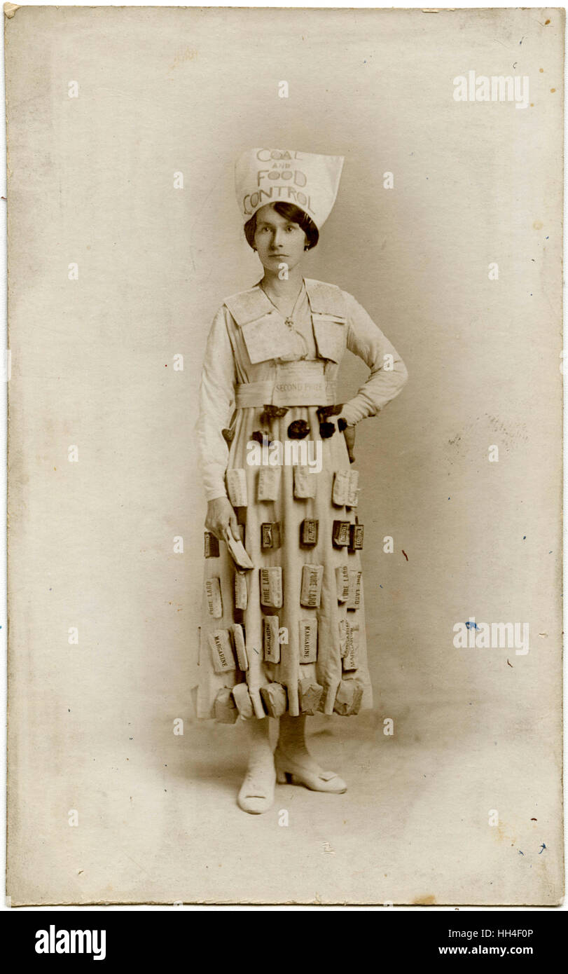 WW1 - Home Front - Fancy Dress Competition 'Coal & Food Control' - The second prize winner. Rationing - Stock Image