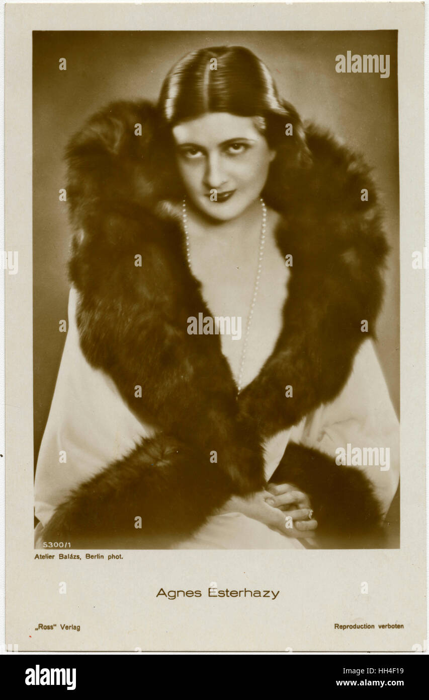 Agnes Esterhazy (1898-1956) - Hungarian Film Star, who made 30films mostly in Austria between 1923 and 1943. - Stock Image