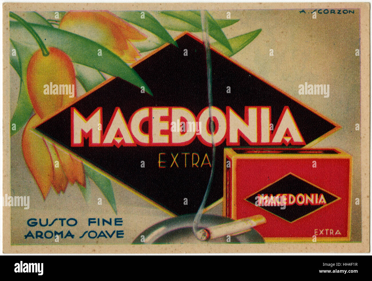 Lovely Art Deco Advertorial postcard for Macedonia Extra Cigarettes ('Fine Taste Sweet Aroma') by Amos Scorzon - Stock Image