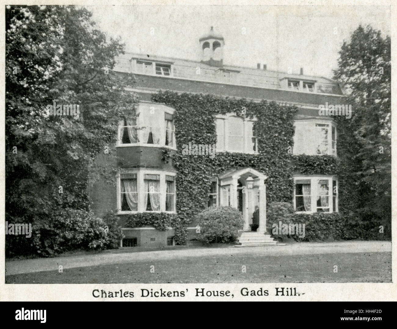 A fine red brick house at Gad's Hill, near Rochester, Kent. It was here that Charles Dickens died on 9 June - Stock Image
