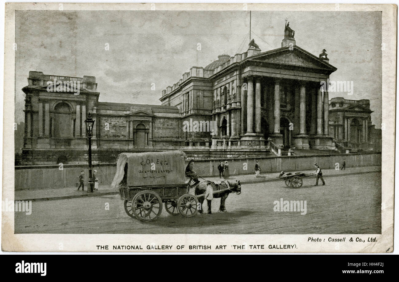 Tate Britain Gallery - Millbank, London. Opened in 1897, the front part of the building was designed by Sidney R. - Stock Image
