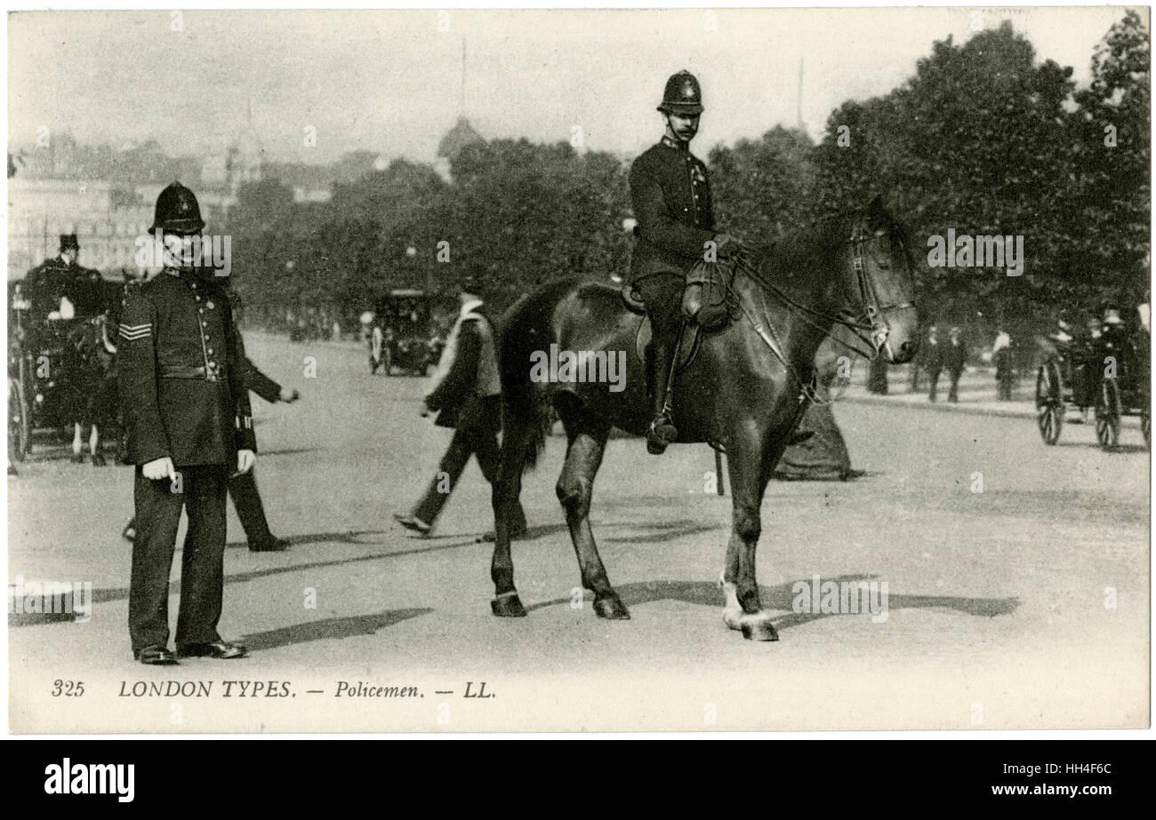 London Policeman - one mounted - Stock Image