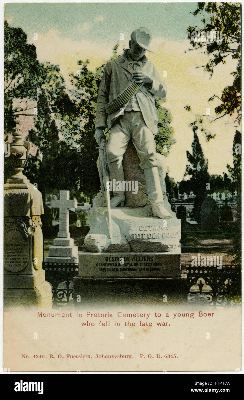 Monument to a Young Boer (Desire de Villiers) who died in Natal on 11th December 1899 at the age of 18 in the Second - Stock Image