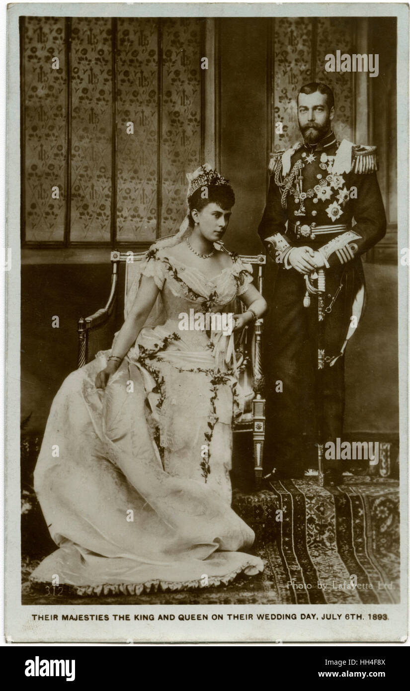 The Wedding of Prince George, Duke of York (later King George V), and Princess Mary of Teck on 6th July 1893 at - Stock Image