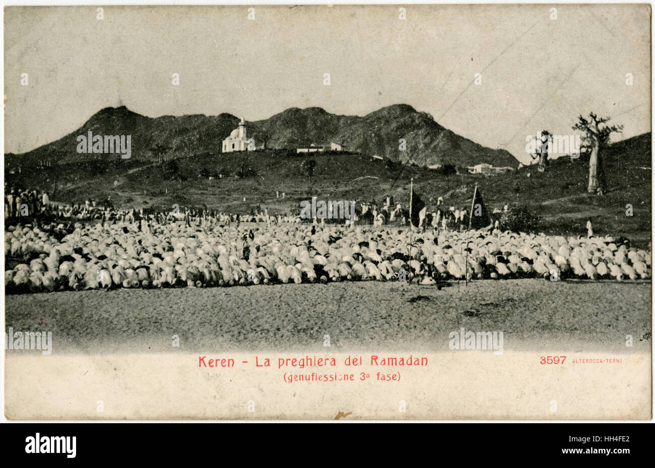 Kern, Eritrea - Ramadan Prayers - genuflection, third phase. - Stock Image