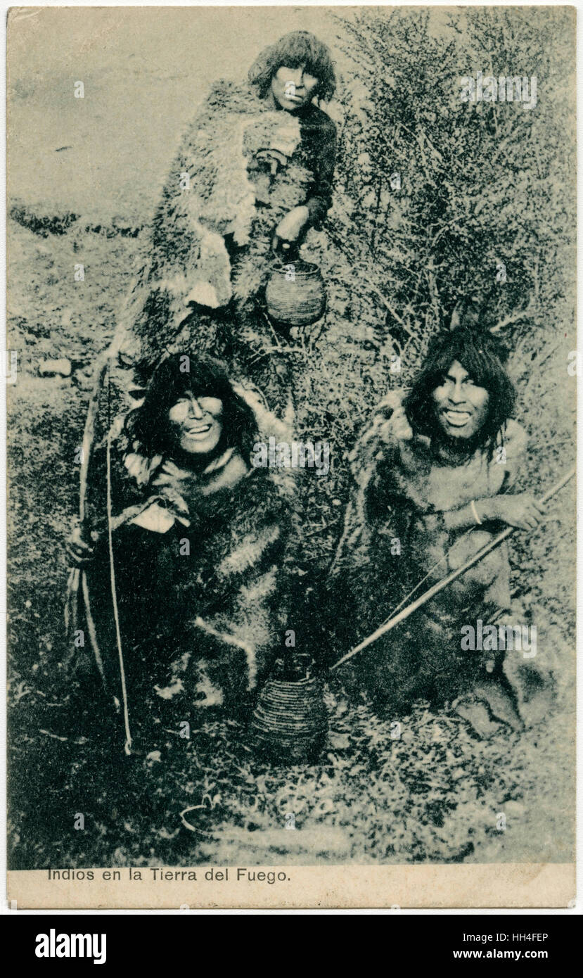 Jolly Indigenous Tribesmen of the indigenous Selk'nam Itribe of Punta Arenas, Patagonia, Magallanes and Antartica - Stock Image