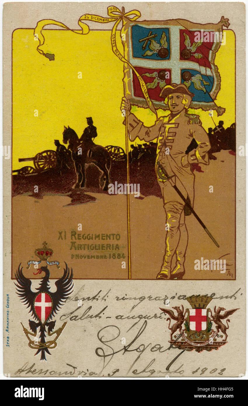 Standard of the Italian 11th Artillery Regiment (XI Reggimento Artiglieria) formed on 1st November 1884. The Illustration - Stock Image