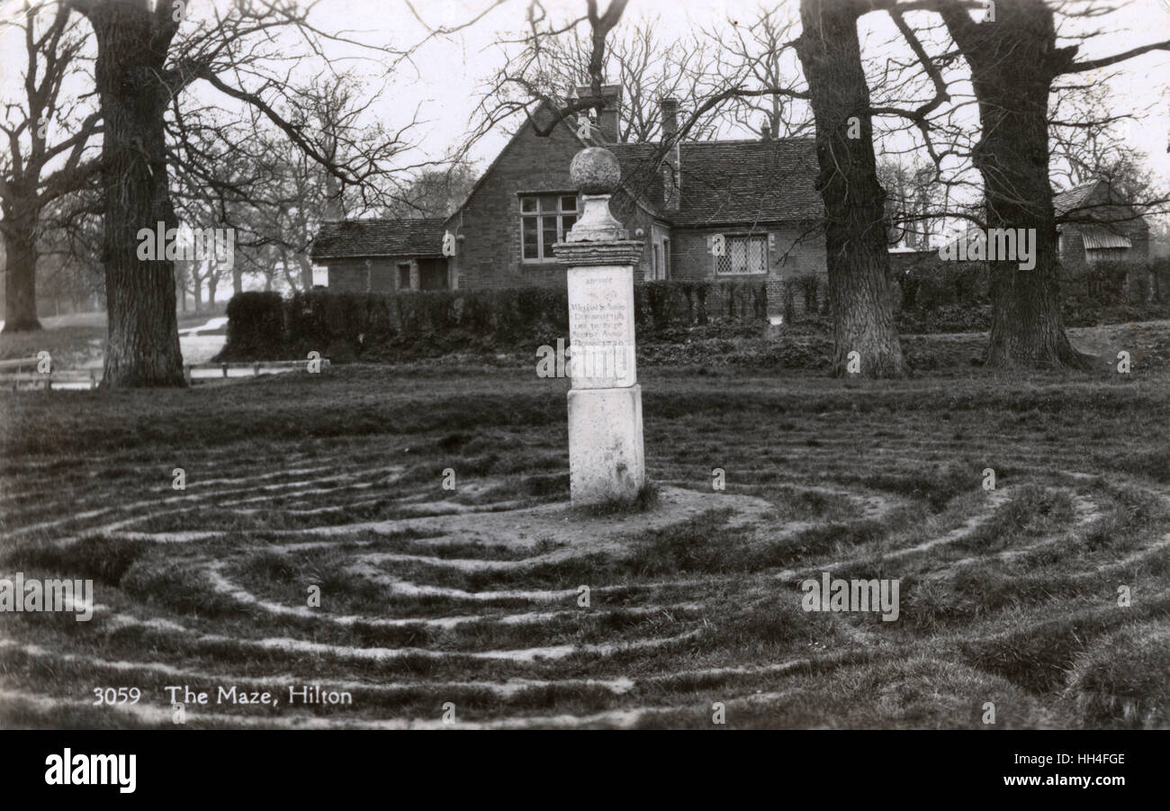 Hilton, Cambridgeshire - the Unicursal Maze - during WW2 (where there appears to have been an understandable drop - Stock Image