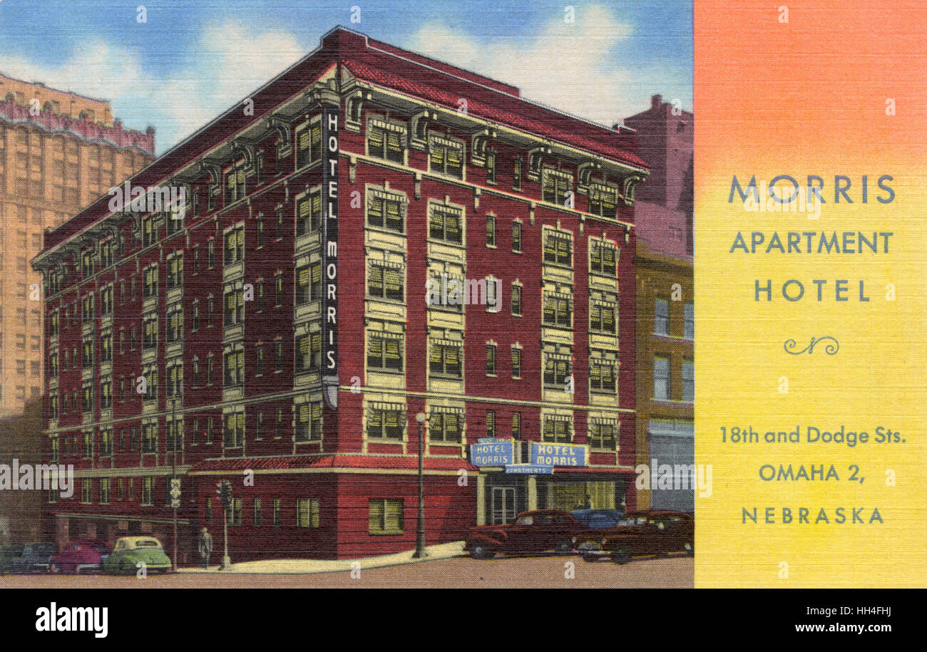 Morris Apartment Hotel, 18th and Dodge Sts, Omaha, Nebraska - Stock Image