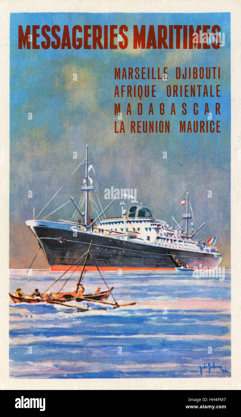 Promotional postcard for Messageries Maritimes - a French merchant shipping company. - Stock Image