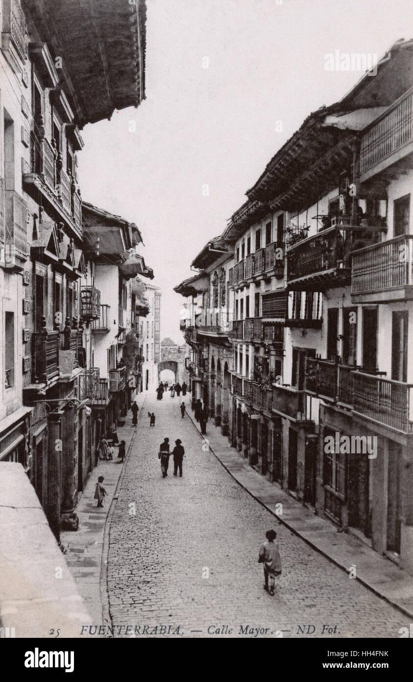 Fuenterrabia, Spain - The Main Street (Calle Mayor) - (see: 11067841). - Stock Image