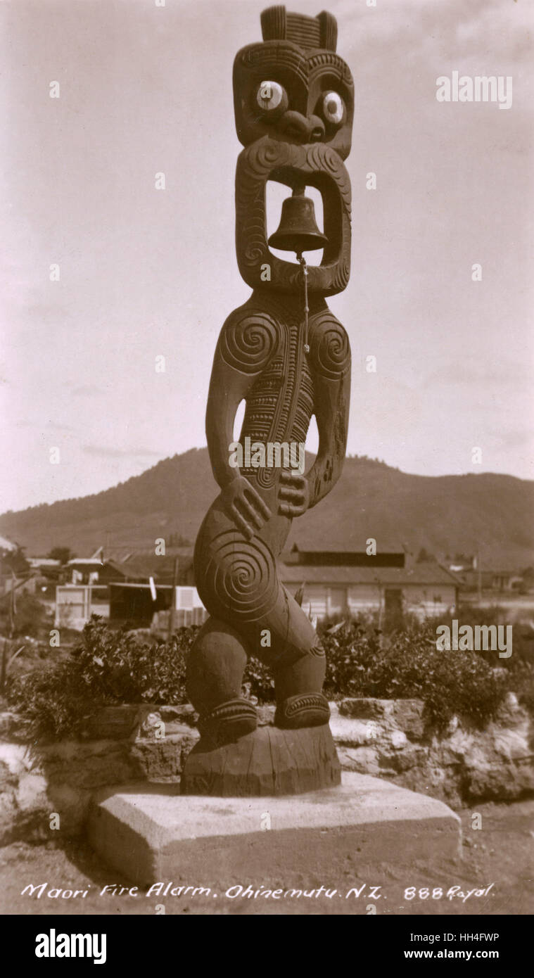 A quite spectacular Maori Mounted bell at the Te Papaiouru Marae, Ohinemutu, Rotorua, New Zealand - made in memory Stock Photo