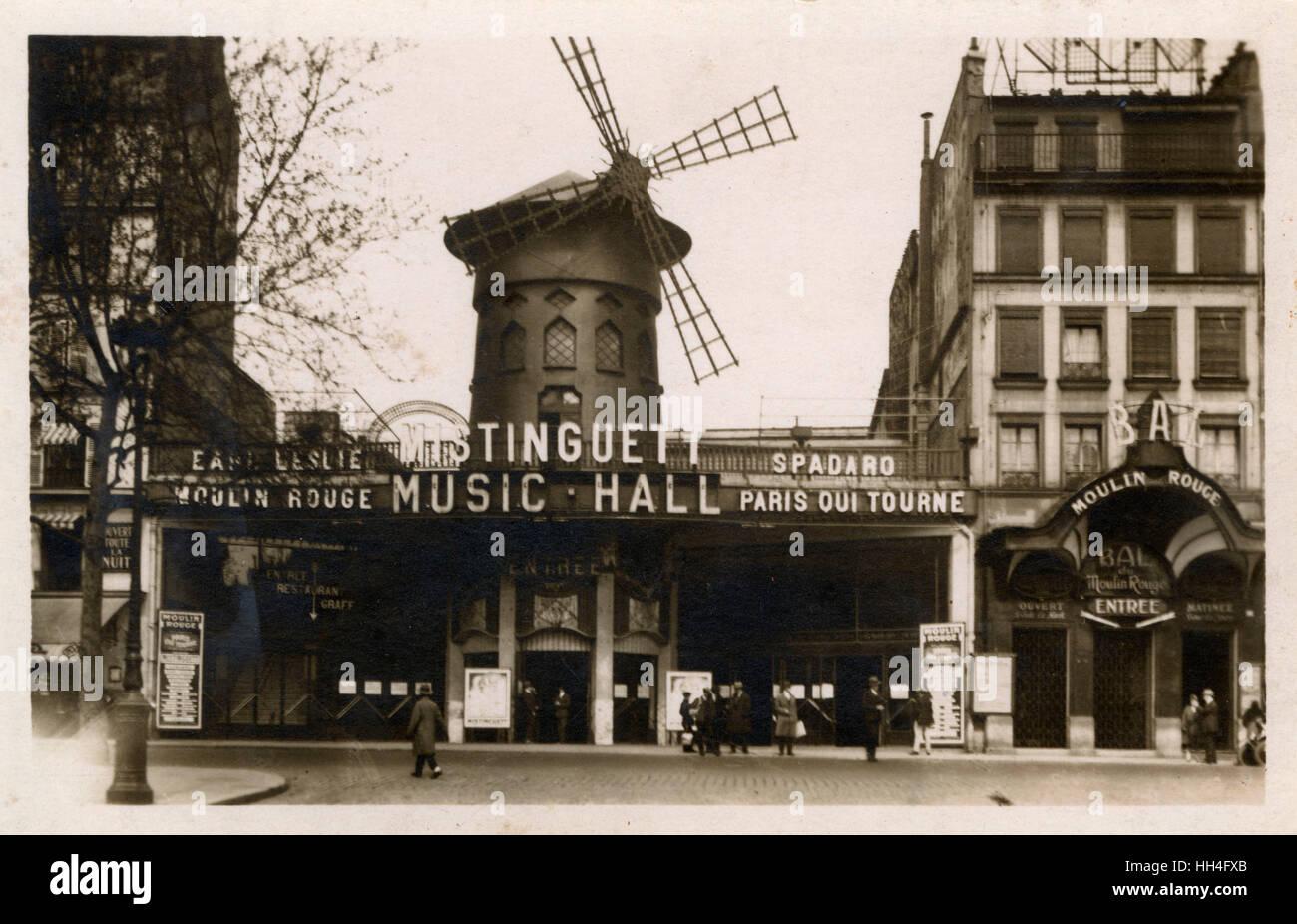 Moulin Rouge Music Hall, Paris - Performance by 'Mistinguett' advertised - Jeanne Florentine Bourgeois (1875 - Stock Image