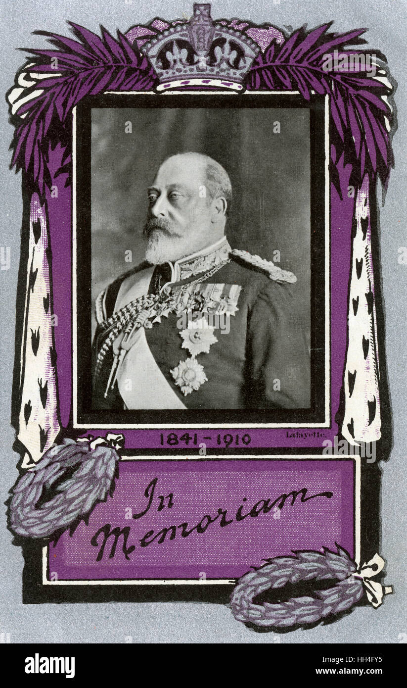 King Edward VII (1841-1910) - Memorial Postcard, May 1910. Eaborate decorative border in purple and silver. Sent - Stock Image