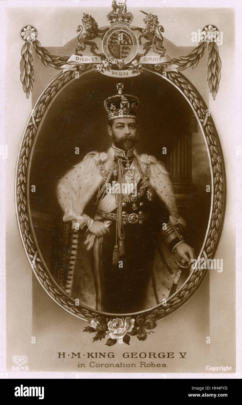 King George V (1865-1936) in his coronation robes - 22nd June 1911 (1/2) - Stock Image
