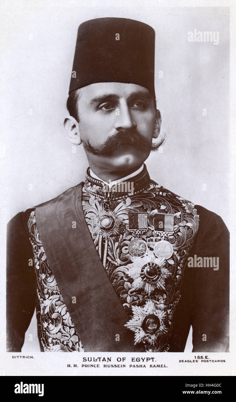 A portrait of Sultan Hussein Kamel of Egypt (1853-1917), who ruled ...