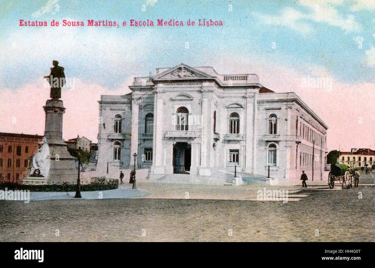 Statue of Dr Jose Tomas de Sousa Martins (1843–1897) and the Medical School, Campo dos Martires da Patria (formerly - Stock Image
