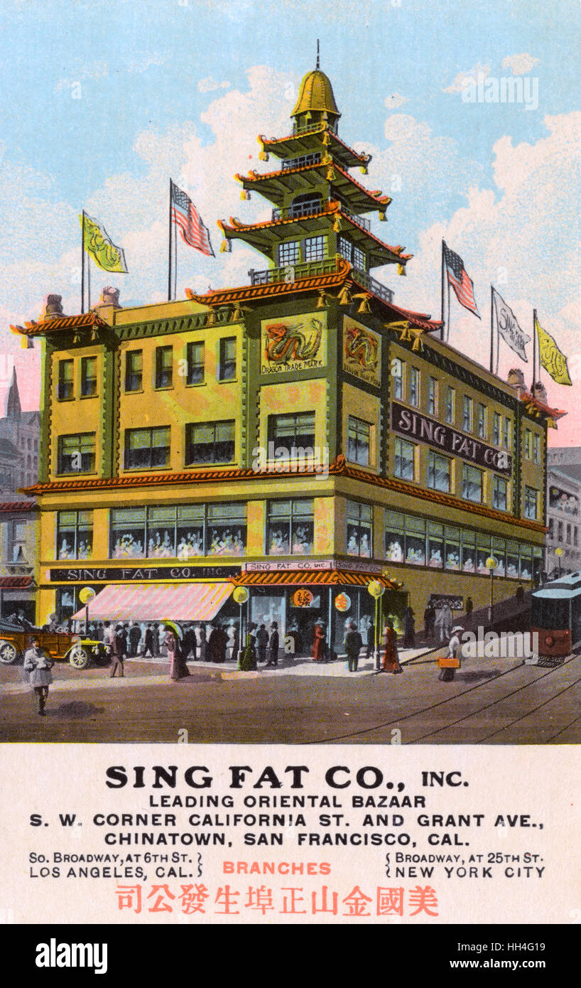 Sing Fat Co, a leading oriental bazaar on the corner of California Street and Grant Avenue, Chinatown, San Francisco, - Stock Image