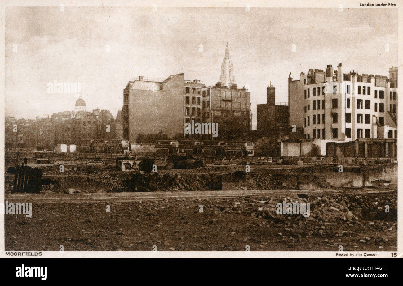 WW2 - London under fire - Moorfields. - Stock Image