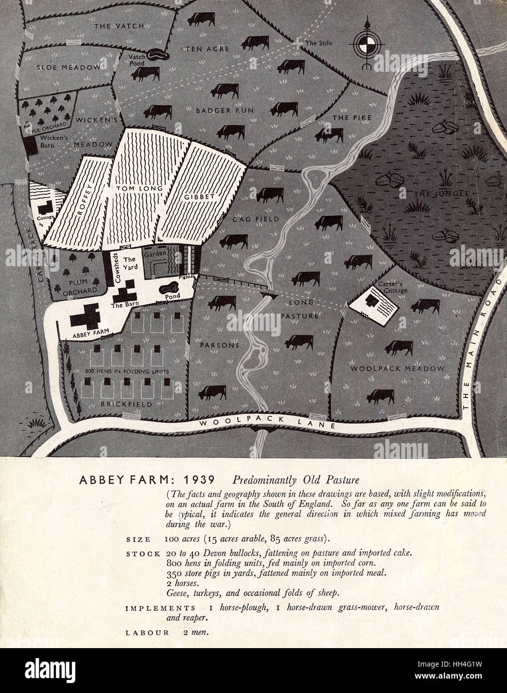 Abbey Farm - 1939. The standard farm layout pre-WW2 in Britain (from 1939) showing the layout of fields and crops, - Stock Image