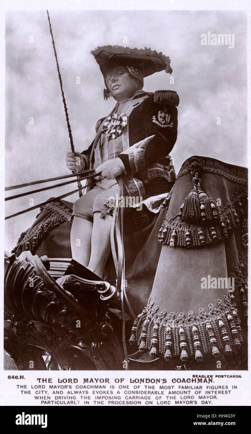 The Lord Mayor of London's Coachman driving his imposing carriage. - Stock Image