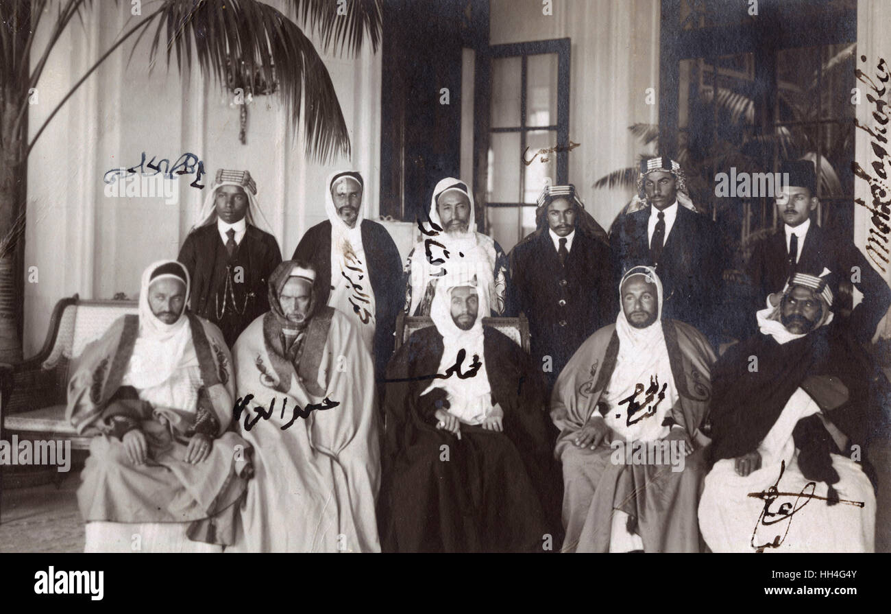 Yemeni Delegation - Official Visit to Naples Italy - Prince Said Eidriss Senussi (and his borther - to his left) - Stock Image