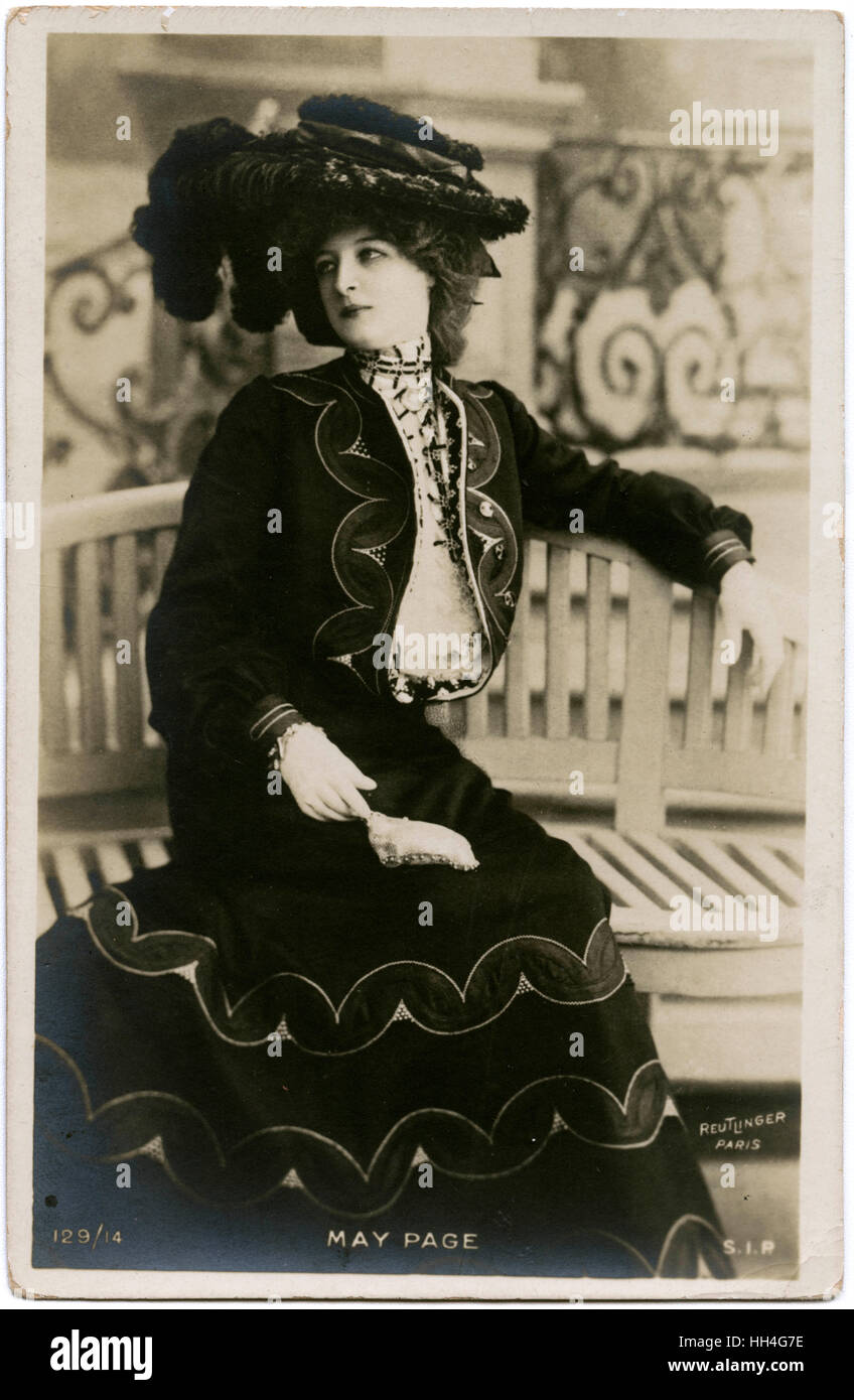 Miss May Page, Belle Epoque French Theatre Actress and Opera Singer. - Stock Image