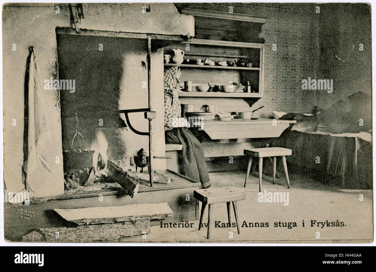 Kans Anna's cottage interior - Fryksas Village, Dalarna, Sweden. There are two very nice stool examples in this Stock Photo