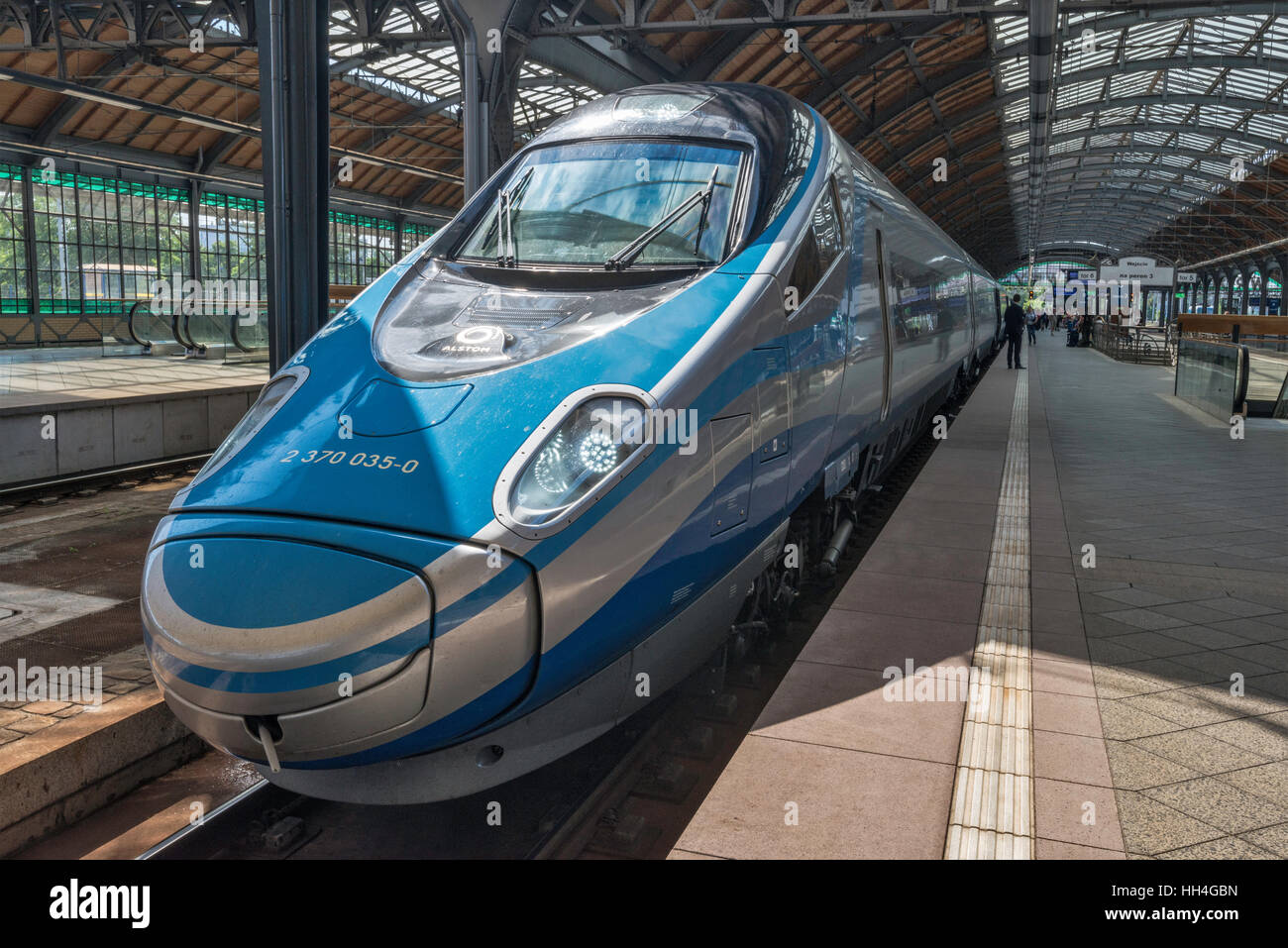 Pendolino High Speed Train at Main Railway Station in Wroclaw, Lower Silesia, Poland - Stock Image