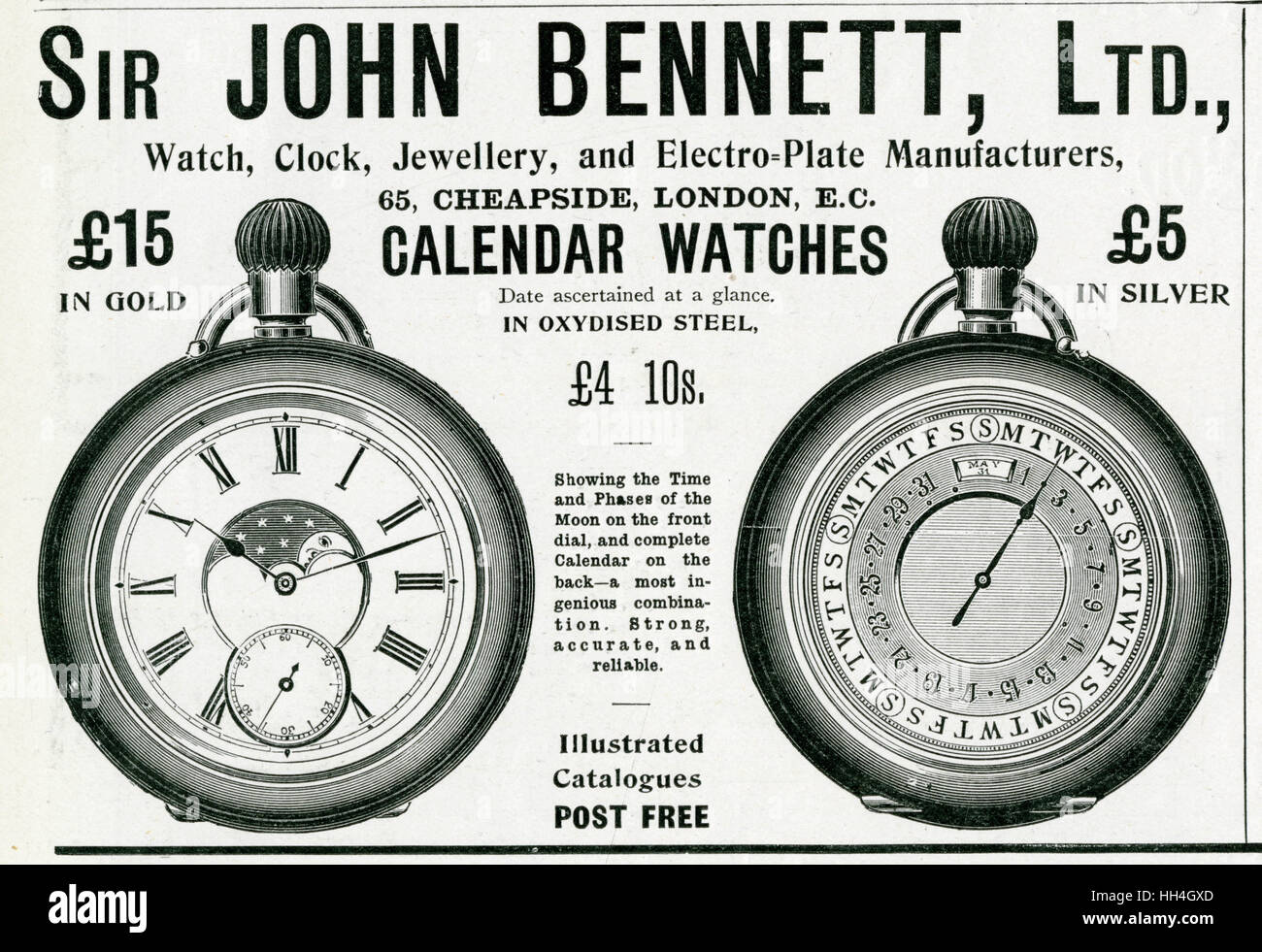 Reverse pocket watch with the time on one side and separate clock for seconds and on the back the date with day, Stock Photo