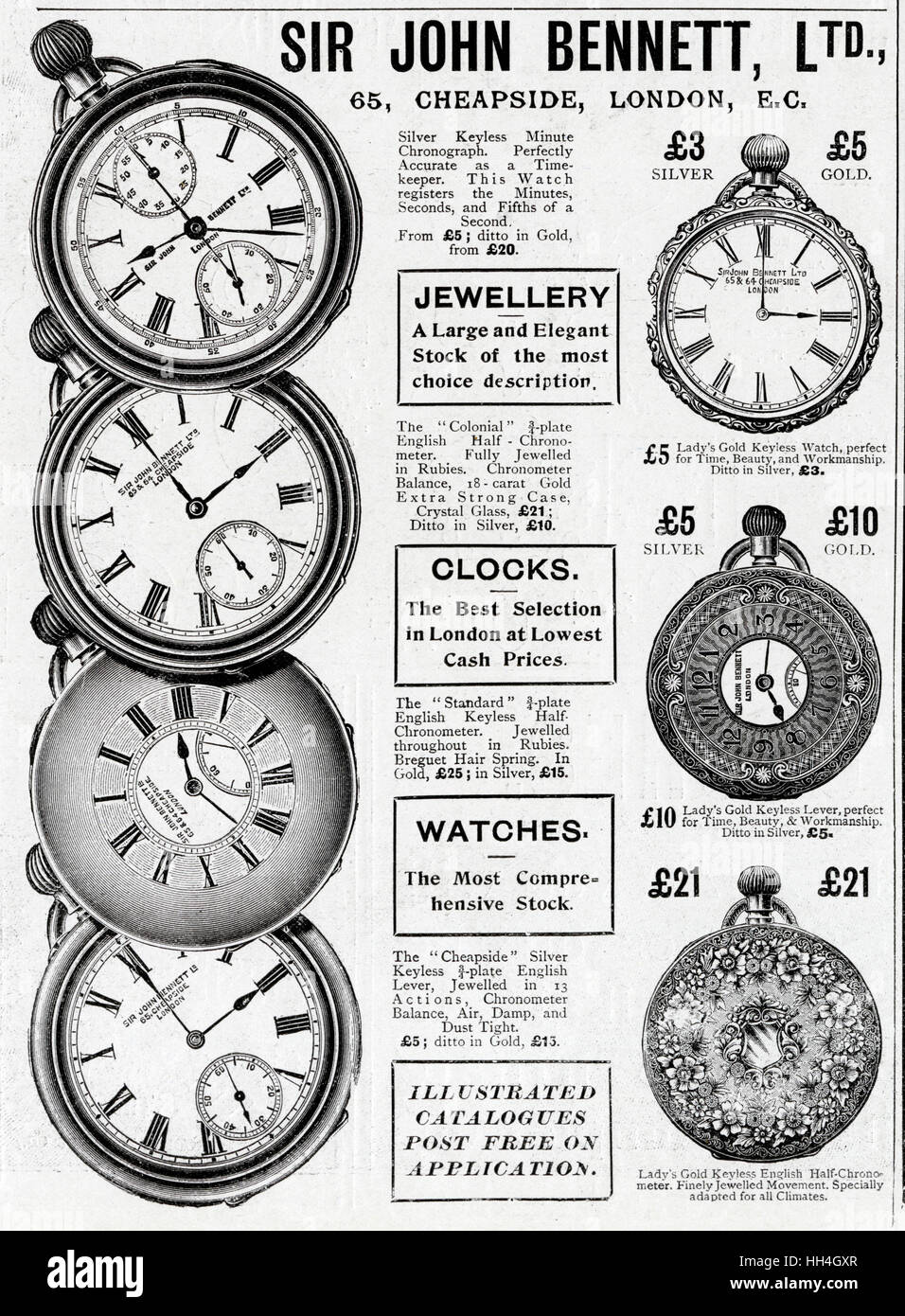 A selection of pocket watches, all available in Cheapside, London. - Stock Image
