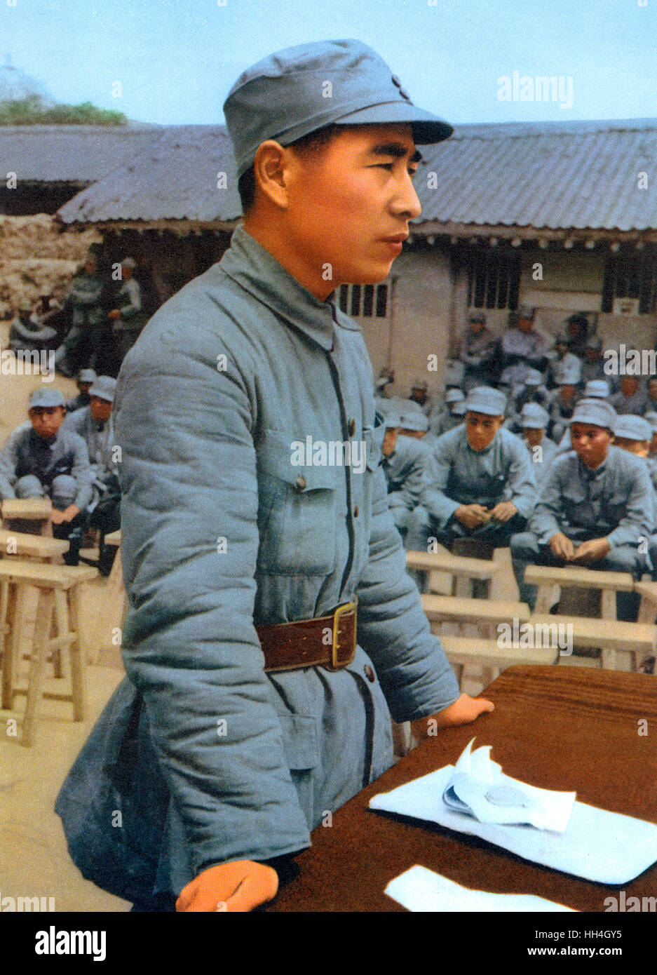 Lin Biao (1907-1971), one of Mao Zedong's closest supporters.  Seen here giving a speech to Chinese soldiers - Stock Image