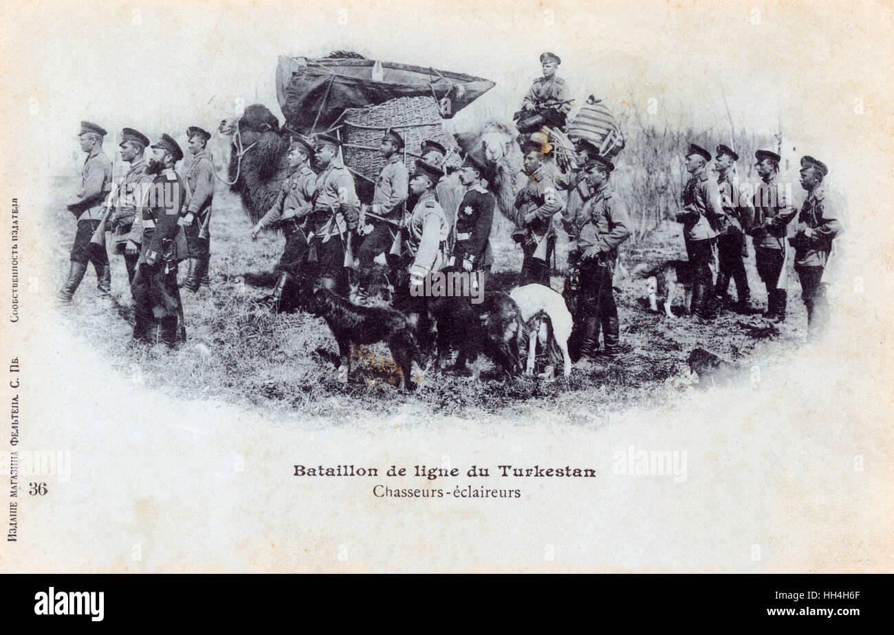 Russian Hunter-Scouts of the Turkestan Battalion. - Stock Image