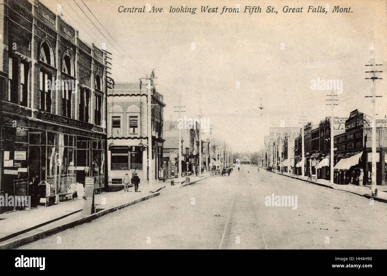 Central Avenue from 5th Street, Great Falls, Montana, USA - Stock Image