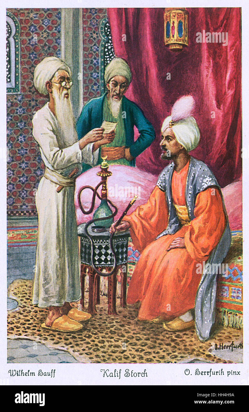 Caliph Stork, an eastern tale -- the Caliph asks Selim the Learned to decipher a document for him which he has bought - Stock Image