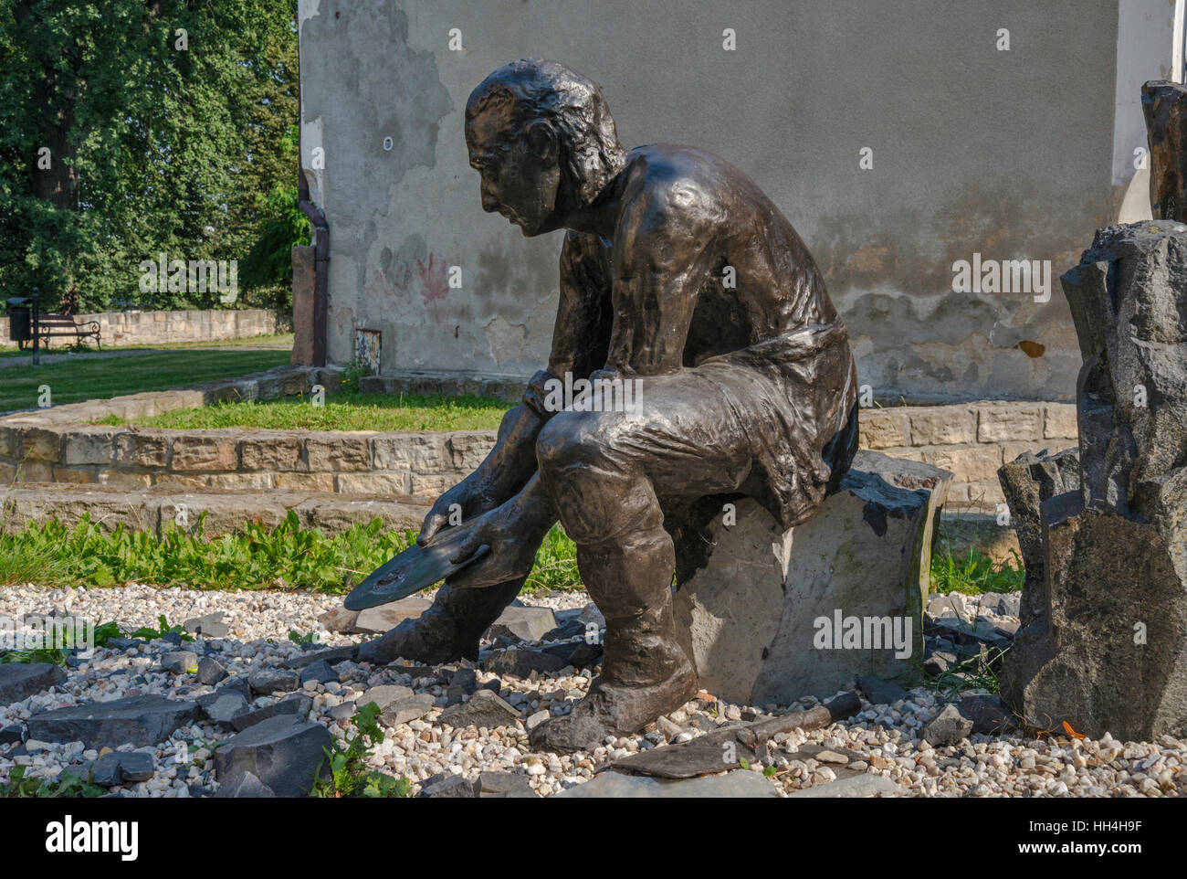 Gold Prospector statue near Gold Museum in Zlotoryja, Lower Silesia, Poland - Stock Image