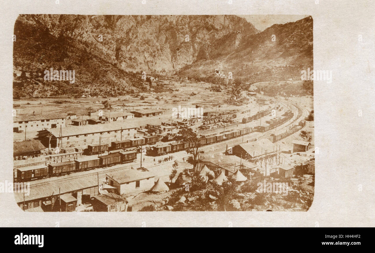 Railway construction at Belemedik, Turkey -- part of the Berlin-Baghdad railway. - Stock Image