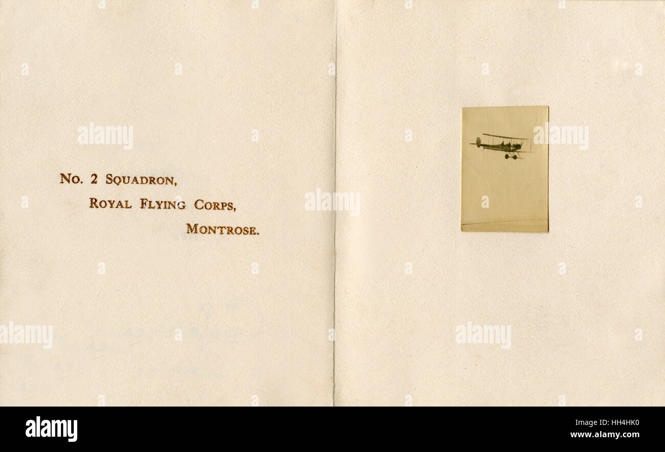 A Christmas Greetings Card, 1913 - sent by C. A. H. Longcroft of the 2nd Squadron, Royal Flying Corps, Montrose - Stock Image